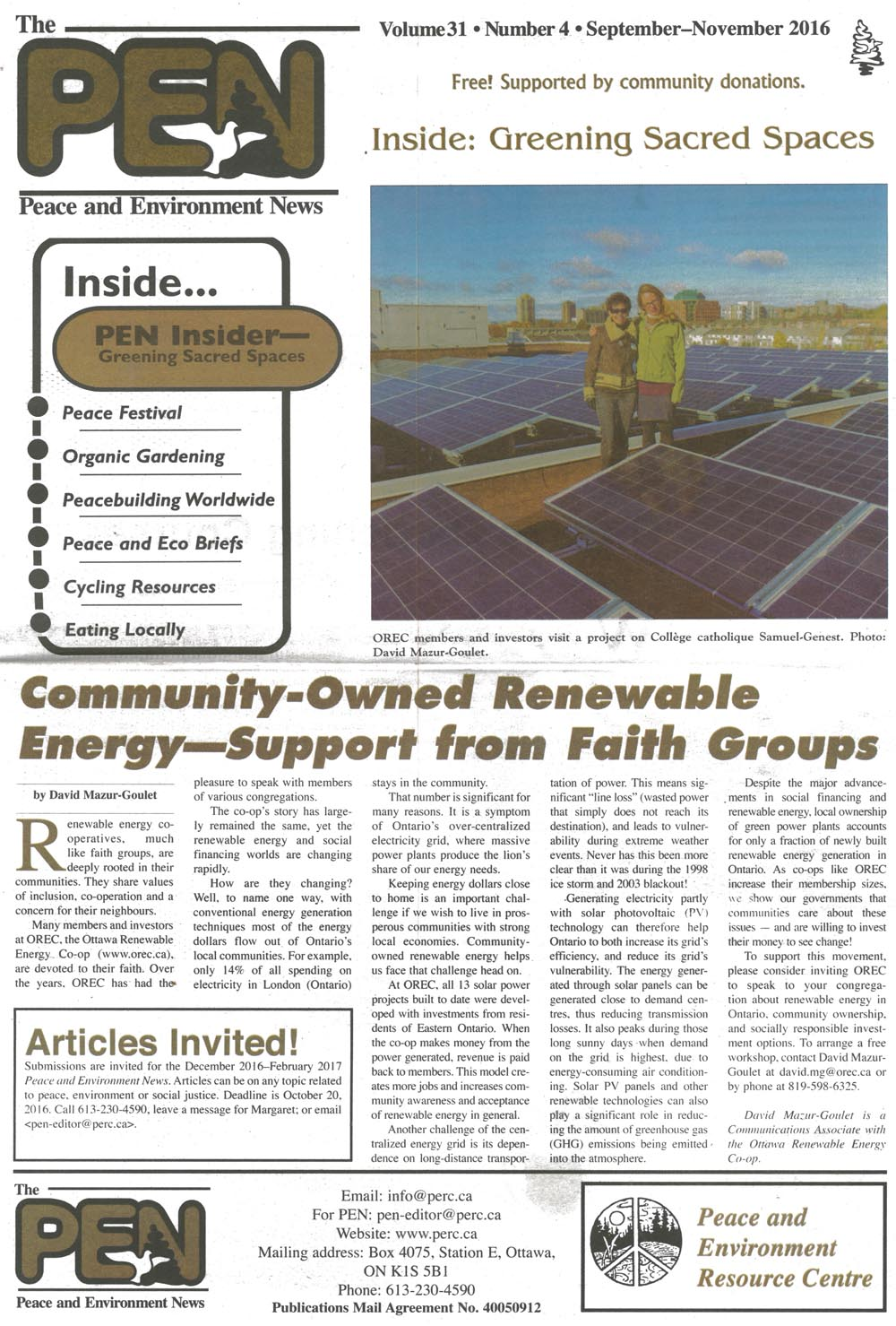 OREC's article in the PEN news